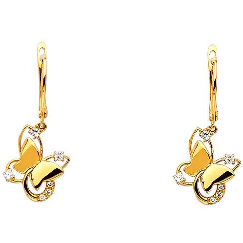 14K Yellow CZ Butterfly Desgin Earrings