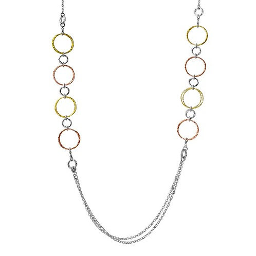 925 Tri-Color Plated Multi Open Ring Long Necklace