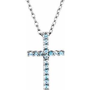 "14K White Aquamarine Petite Cross 16"" Necklace"