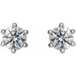 14K White 4.5 mm I2 3/4 CTW Diamond 6-Prong Wire Basket Earrings
