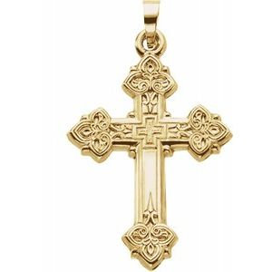 14K Yellow 26x20 mm Hollow Cross Pendant