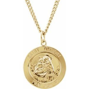 "24K Gold Plated 22 mm St. Anthony 24"" Necklace"