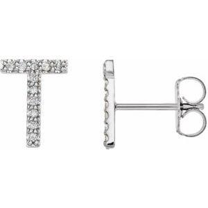 14K White .05 CTW Diamond Single Initial T Earring