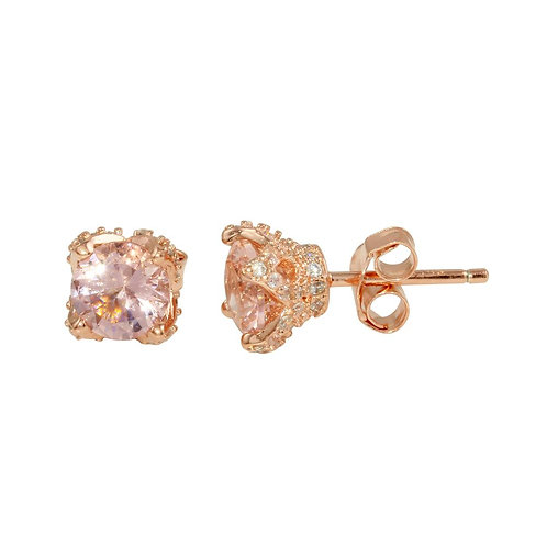 Crystal Rose Gold Plated Stud Earrings