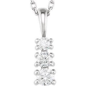 "14K White 1/6 CTW Diamond 3-Stone 18"" Necklace"