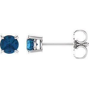 14K White 4 mm Round London Blue Topaz Earrings