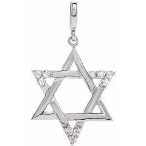 14K White 1/10 CTW Diamond Star of David Pendant