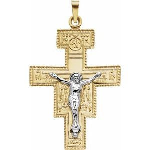14K Yellow & White 33x25 mm San Damiano Crucifix Pendant