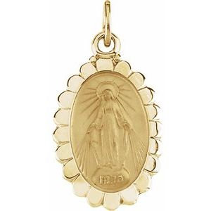 14K Yellow 17x11 mm Oval Miraculous Medal