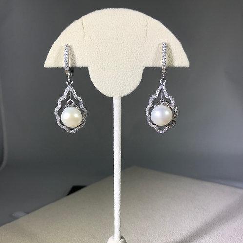 White Cultured Freshwater Pearl flower CZ Sterling Silver Earrings
