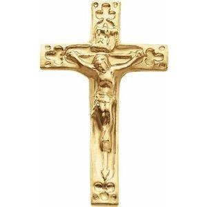 14K Yellow 20x12 mm Crucifix Lapel Pin