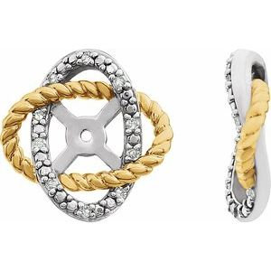 14K White/Yellow Gold-Plated .07 CTW Diamond Earring Jackets with 5.3mm ID
