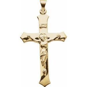 14K Yellow 47.3x25.5 mm Crucifix Pendant