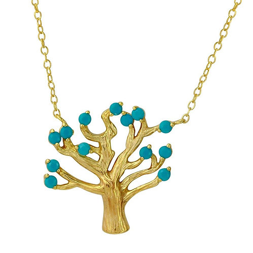 Turquoise Tree Sterling Silver Gold Plated Necklace.