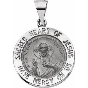 14K White 18 mm Round Hollow Sacred Heart of Jesus Medal