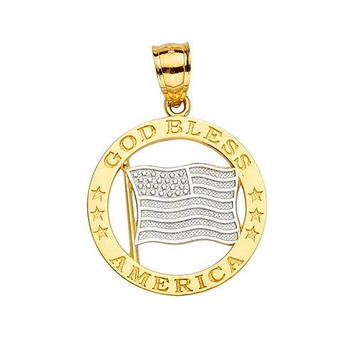 14K 2Tone God Bless America Flag Pendant