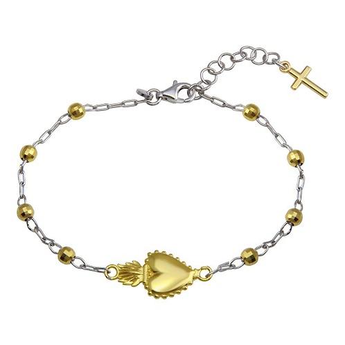 925 Rhodium Plated Heart Center DC Bead Bracelet