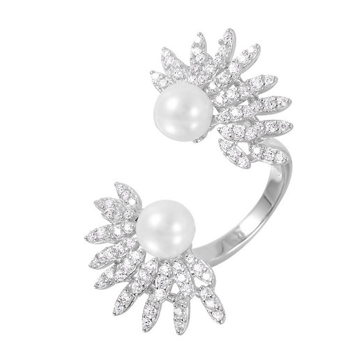 Synthetic Pearl Cubic Zirconia Flower Burst Sterling Silver Open Ring