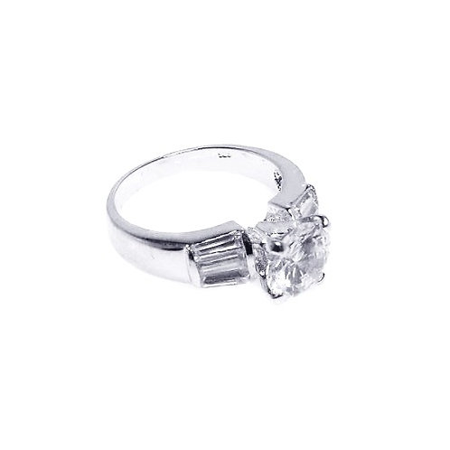 925 Rhodium Plated Clear Baguette Round Center CZ Bridal Ring