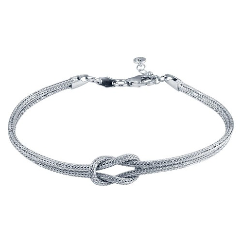 925 Rhodium Plated Double Chain Knot Bracelet