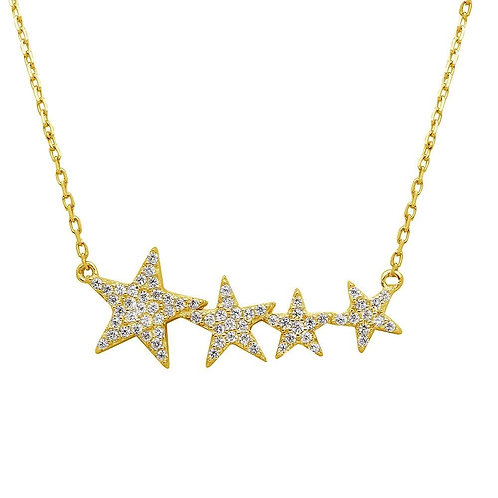 Graduated Star Sterling Silver Gold Plated Necklace