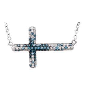 """14K White 3/8 CTW Diamond Sideways Cross 18"""" Necklace"""