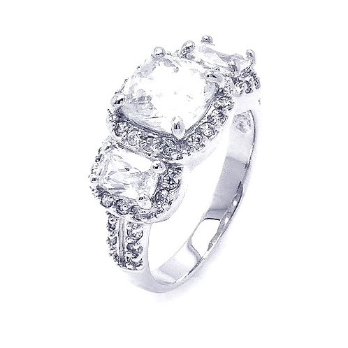 925 Rhodium Plated Clear Square Cluster CZ Past Present Future Ring