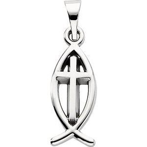Sterling Silver 14x6 mm Fish Pendant with Cross
