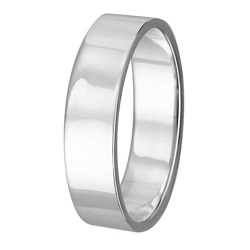 Sterling Silver High Polished 3mm Plain Flat Weddings Band Ring