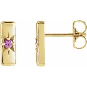 14K Yellow Pink Sapphire Starburst Bar Earrings