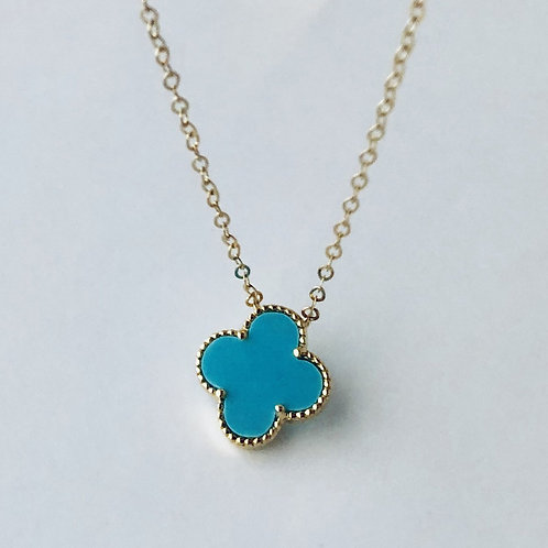 Turquoise Flower Necklace in 14k Yellow Gold