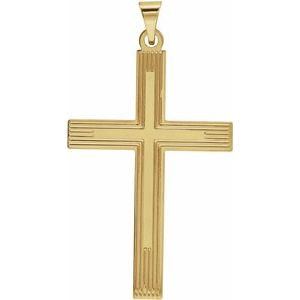 14K Yellow Cross Pendant