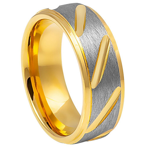Two-tone Gray & Yellow IP Plated Notched Ring - 8mm