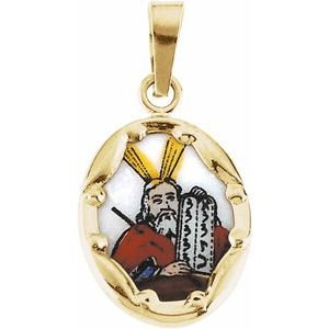 14K Yellow 13x10 mm Moses Hand-Painted Porcelain Medal