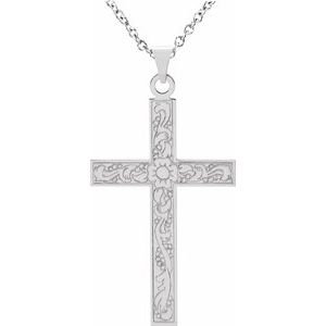 "14K White 18"" Cross Necklace"