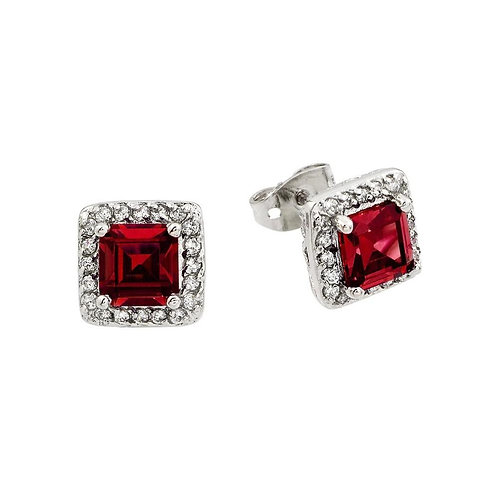 Red Square Cubic Zirconia Sterling Silver Studs Earrings