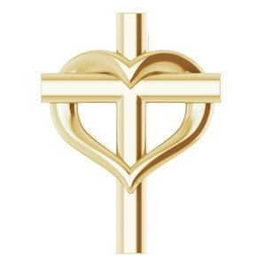 14K Yellow Youth Cross with Heart Pendant