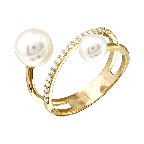 Synthetic Pearl & Cubic Zirconia Ring