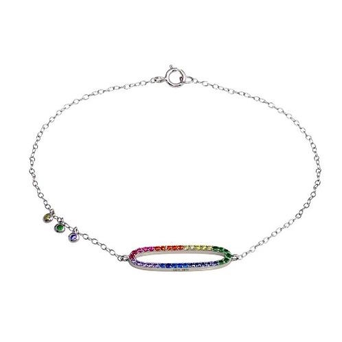 925 Rhodium Plated Multi Color CZ Open Oval Bracelet