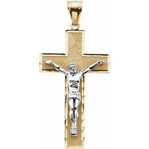 14K Yellow & White 41x23.75 mm Crucifix Pendant