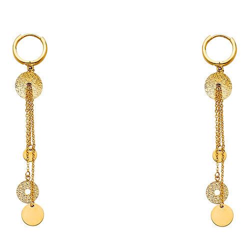 14K Yellow Circle Hanging Earrings