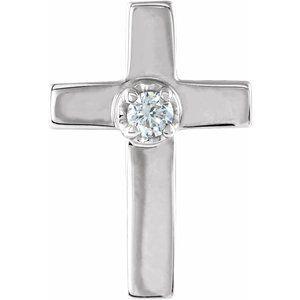 14K White 11x8 mm .02 CTW Diamond Cross Lapel Pin