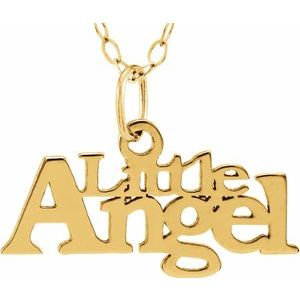 """14K Yellow """"Little Angel"""" 15"""" Necklace"""