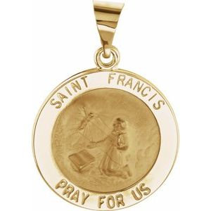 14K Yellow 18 mm Round Hollow St. Francis Medal