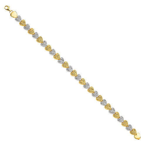14K 2Tone Crystal D.C. Bracelet
