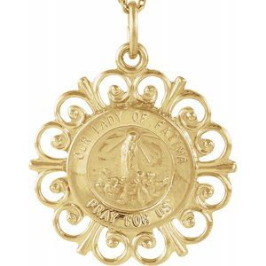 14K Yellow 18 mm Our Lady of Fatima Medal
