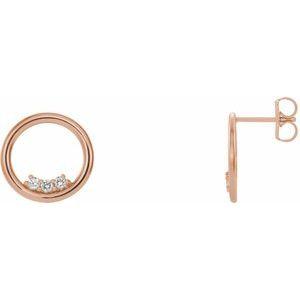 14K Rose 1/6 CTW Diamond Circle Earrings