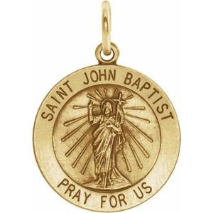 14K Yellow 15 mm Round St. John the Baptist Medal
