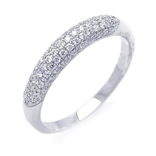 925 Rhodium Plated Micro Pave CZ Ring