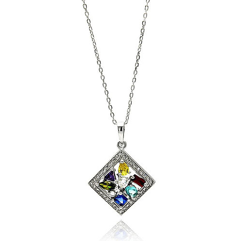 Multicolor Square Cubic Zirconia Sterling Silver Rhodium Plated Necklace